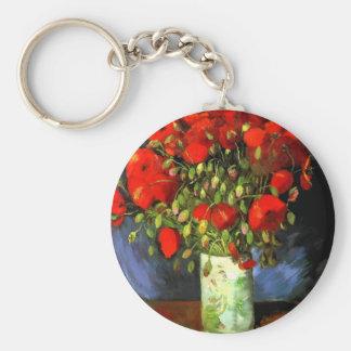 Florero de Vincent van Gogh con arte floral de las Llavero Redondo Tipo Pin
