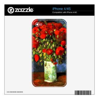 Florero de Vincent van Gogh con arte floral de las Skins Para eliPhone 4