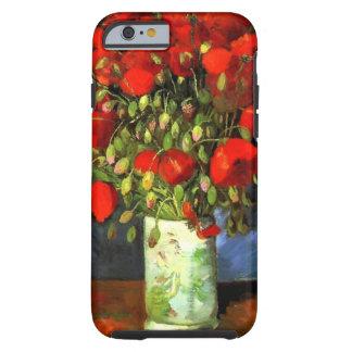 Florero de Vincent van Gogh con las amapolas rojas Funda De iPhone 6 Tough