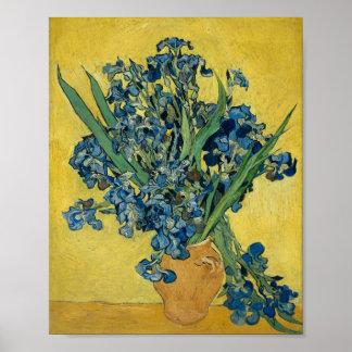 Florero de Vincent van Gogh con los iris Póster