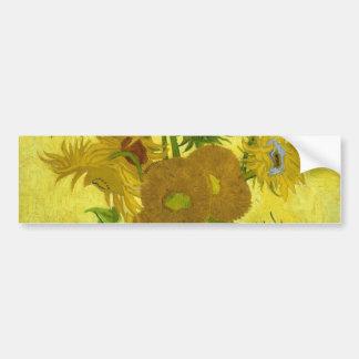 Florero de Vincent van Gogh con quince girasoles 1 Pegatina Para Auto