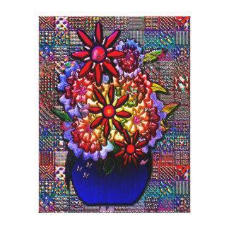 Florero del azul de cobalto con las flores impresiones en lona estiradas