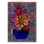 Florero del azul de cobalto con las flores tarjeta de felicitación