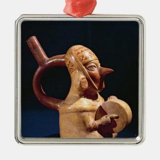 Florero del estribo en la forma adorno navideño cuadrado de metal