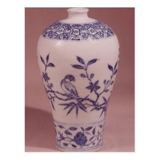 Florero del flor, dinastía de Ming Postal