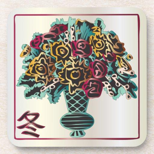 Florero del invierno del Mah Jongg Posavasos