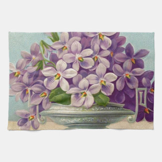 Florero del vintage de flores púrpuras toallas de mano