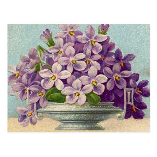 Florero del vintage de flores púrpuras tarjeta postal