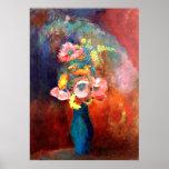 Florero etéreo de flores, pintando por Odilon Póster
