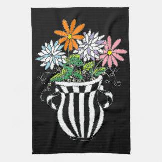 Florero floral colorido toallas de cocina