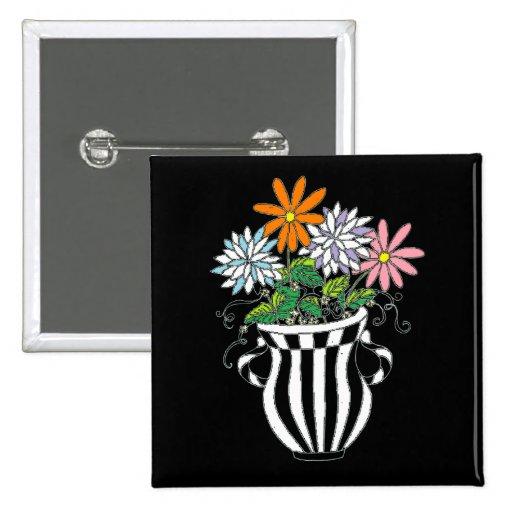 Florero floral colorido pin