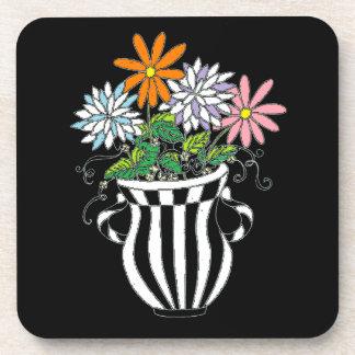 Florero floral colorido posavasos de bebida
