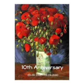 Florero floral del aniversario del vintage con las invitación