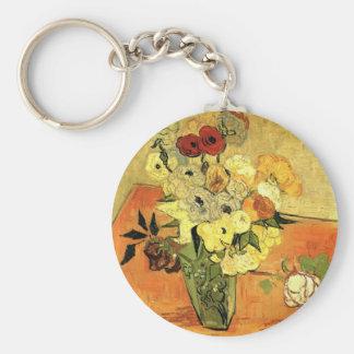 Florero japonés de Van Gogh con los rosas y las Llaveros Personalizados