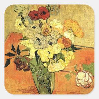 Florero japonés de Van Gogh con los rosas y las Pegatina Cuadrada