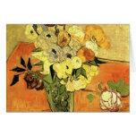 Florero japonés de Van Gogh con los rosas y las Tarjetas