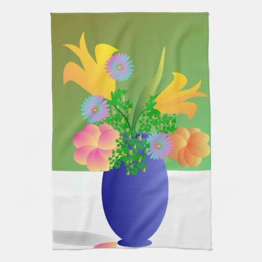 Florero por completo de flores brillantes toalla de cocina