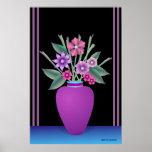 Florero púrpura con las flores coloridas impresiones