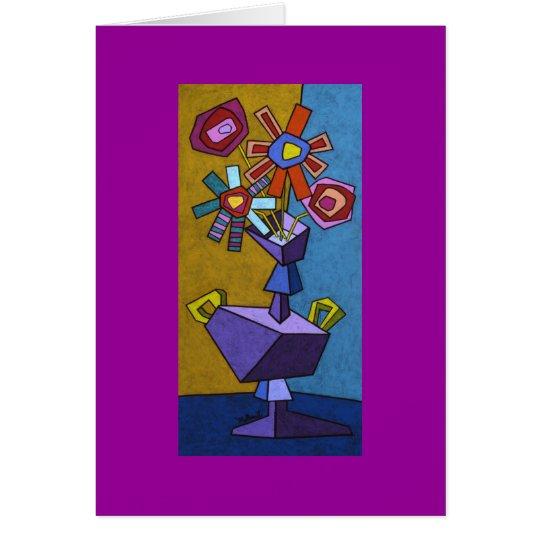 Florero púrpura tarjeta de felicitación