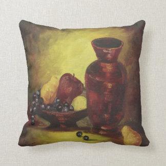 Florero rojo con la almohada de tiro de la fruta cojín decorativo