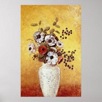 Florero rojo de las flores, flores de Odilon Redon Póster