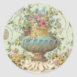 Florero subió Victorian Etiquetas Redondas