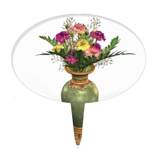 Florero verde y arreglo floral figura para tarta