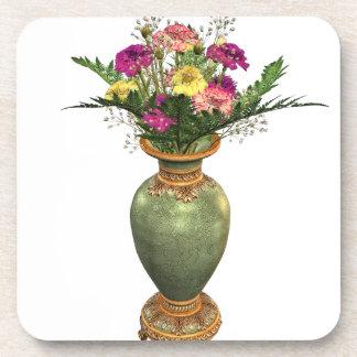Florero verde y arreglo floral posavasos de bebidas