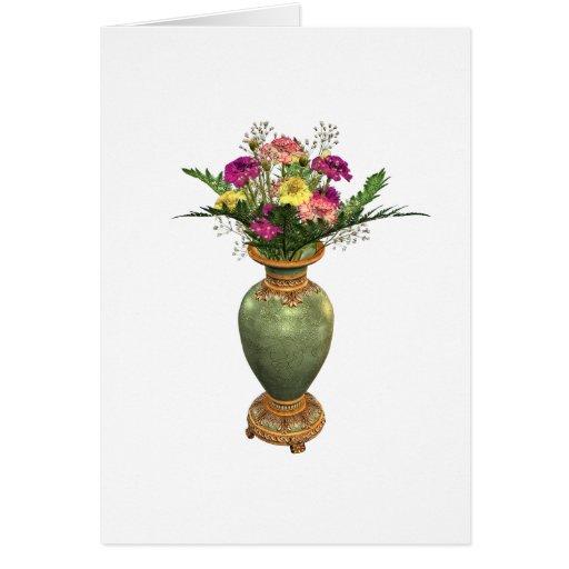 Florero verde y arreglo floral tarjeta
