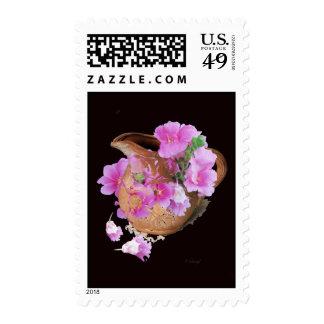 Florero y flores sello