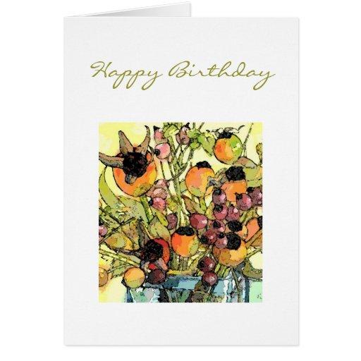 Florero y flores tarjeta de felicitación