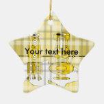 Floreros amarillos modernos en tela escocesa adorno de navidad