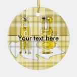 Floreros amarillos modernos en tela escocesa ornato