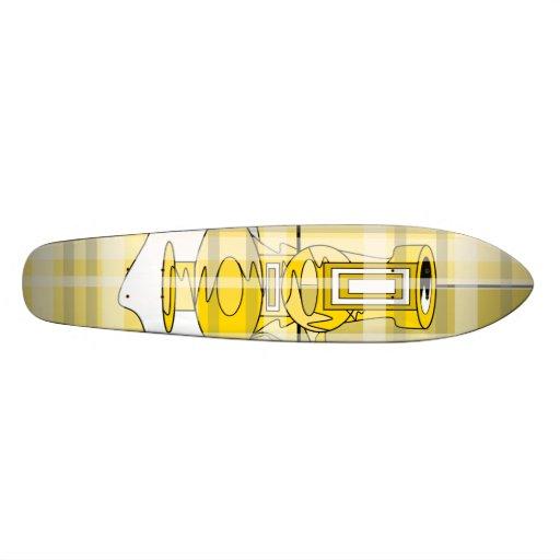 Floreros amarillos modernos en tela escocesa tablas de skate