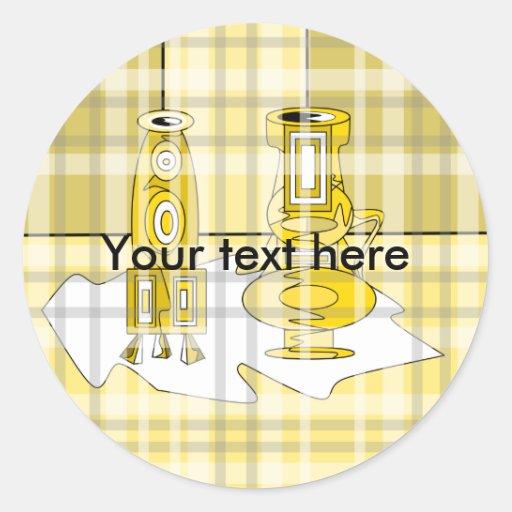 Floreros amarillos modernos en tela escocesa etiquetas redondas
