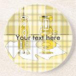 Floreros amarillos modernos en tela escocesa posavasos personalizados