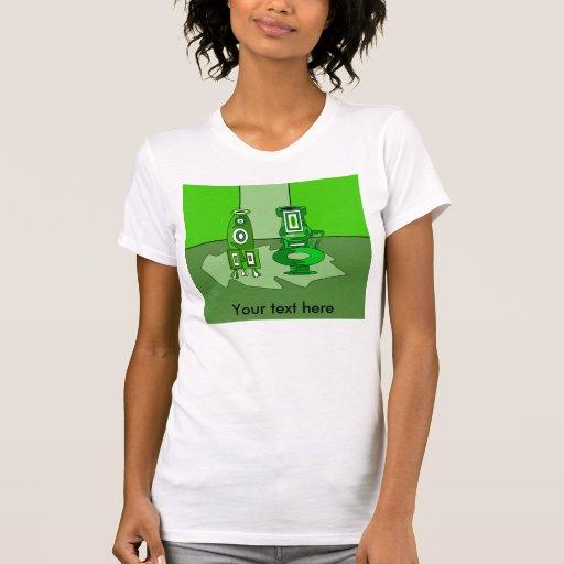 Floreros modernos en verde camiseta