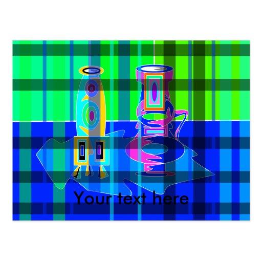 Floreros multicolores modernos en tela escocesa postales