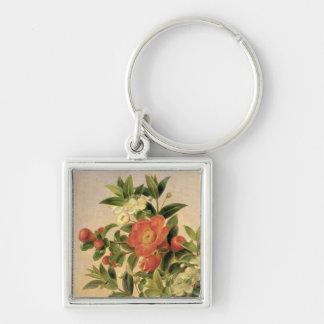 Flores, 1835 llavero cuadrado plateado