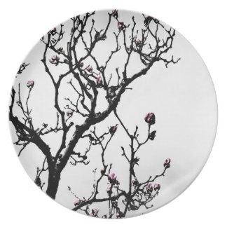 Flores 2 de la magnolia plato de cena