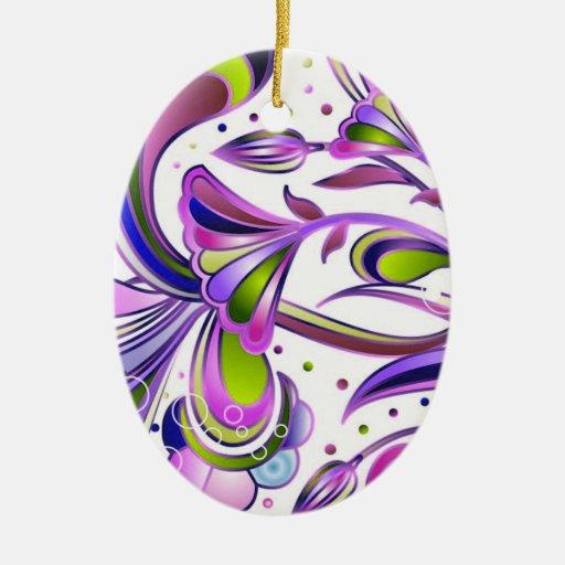 Flores 2 del extracto adorno navideño ovalado de cerámica