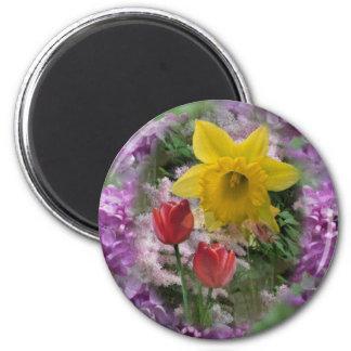 Flores 3 de la primavera imanes para frigoríficos