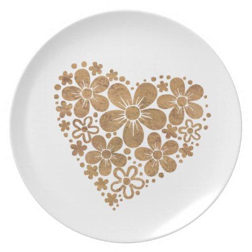 flores 4 del corazón platos para fiestas