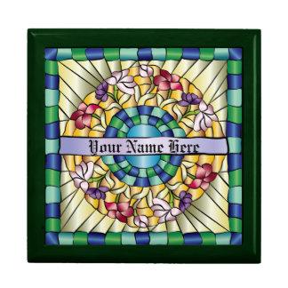 Flores a mano coloridas del vitral de la joya cajas de recuerdo
