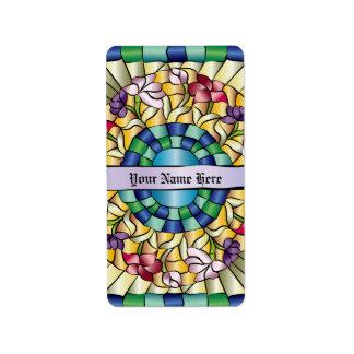 Flores a mano coloridas del vitral de la joya etiqueta de dirección