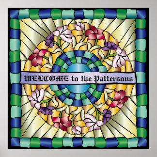 Flores a mano coloridas del vitral de la joya