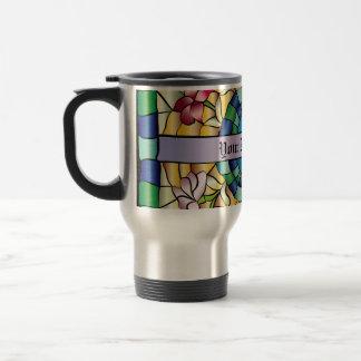 Flores a mano coloridas del vitral de la joya taza de café