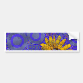 Flores abstractas amarillas azules pegatina para auto