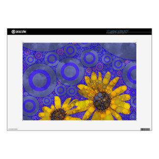 Flores abstractas amarillas azules skins para 38,1cm portátil