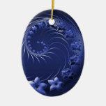 Flores abstractas azul marino ornamentos de reyes magos